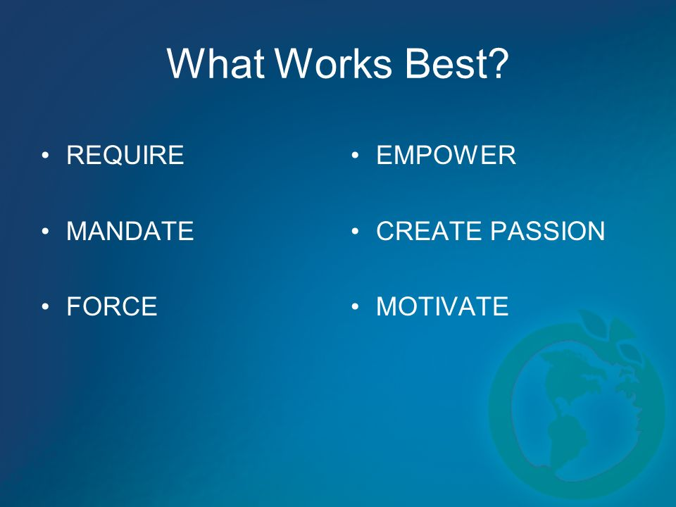 What Works Best REQUIRE MANDATE FORCE EMPOWER CREATE PASSION MOTIVATE