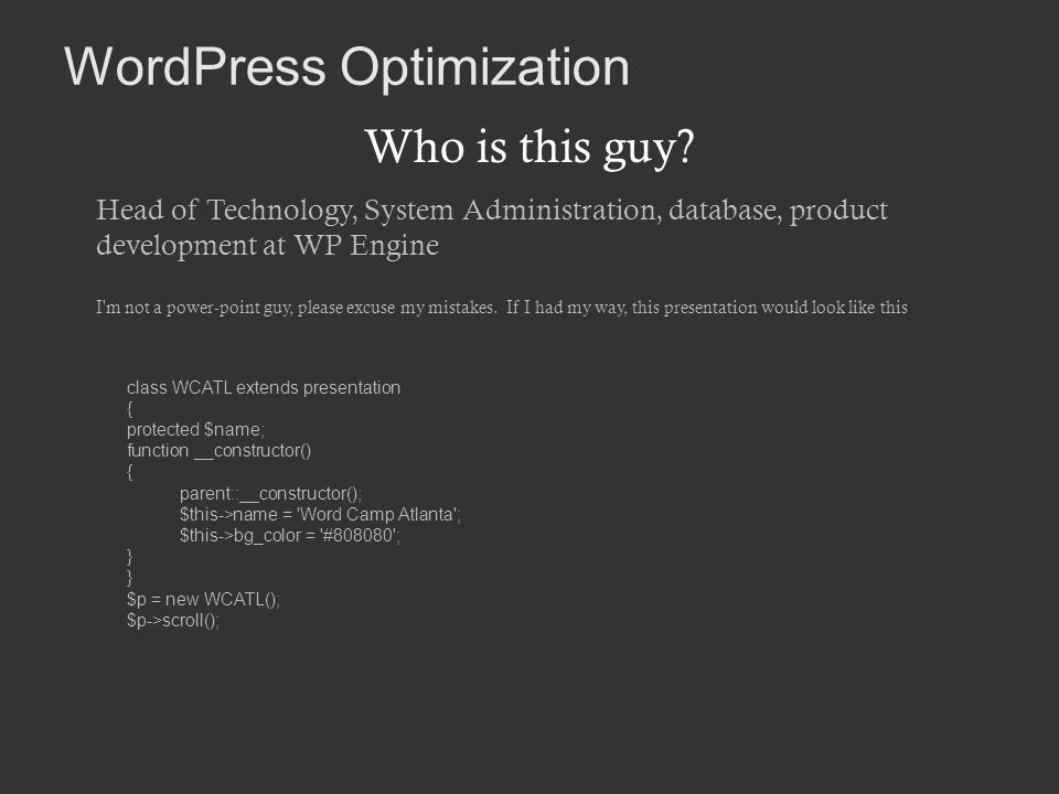 WordPress Optimization Who is this guy.