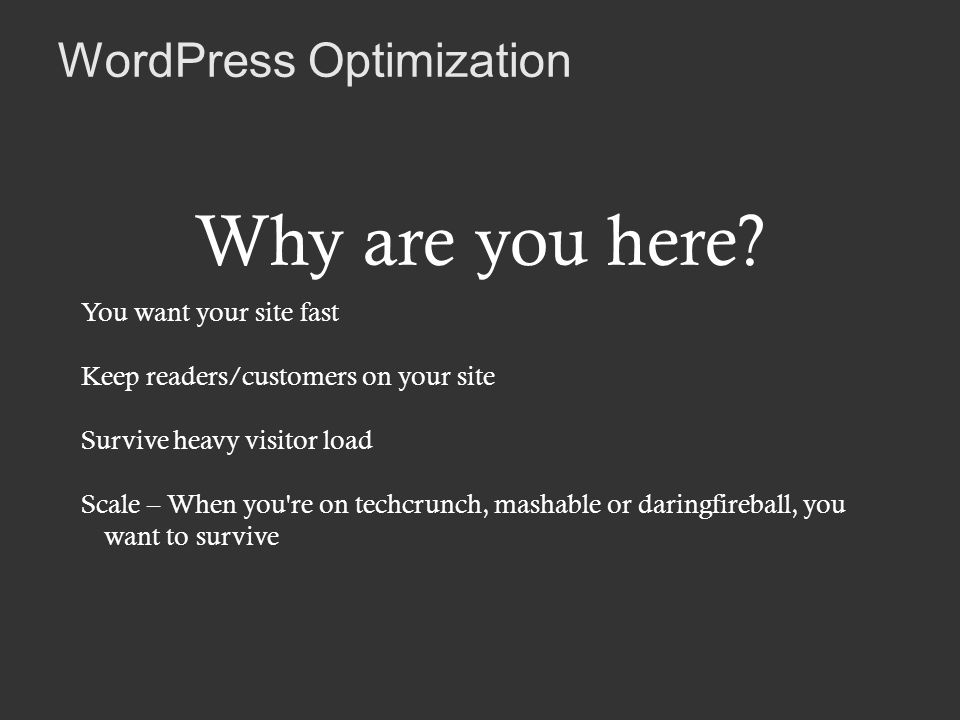 WordPress Optimization Why are you here.