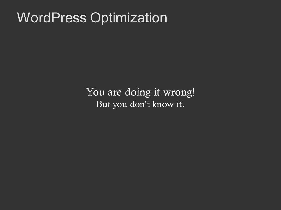 WordPress Optimization You are doing it wrong! But you don t know it.