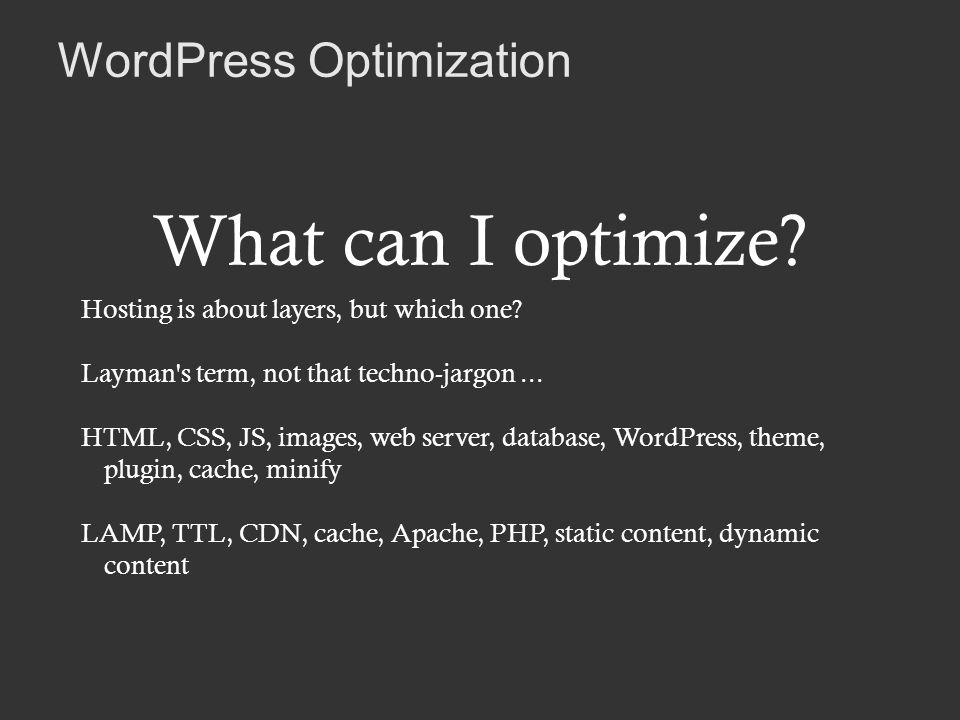 WordPress Optimization What can I optimize. Hosting is about layers, but which one.