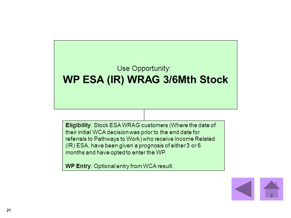 21 Use Opportunity: WP ESA (IR) WRAG 3/6Mth Stock Eligibility: Stock ESA WRAG customers (Where the date of their initial WCA decision was prior to the end date for referrals to Pathways to Work) who receive Income Related (IR) ESA, have been given a prognosis of either 3 or 6 months and have opted to enter the WP.