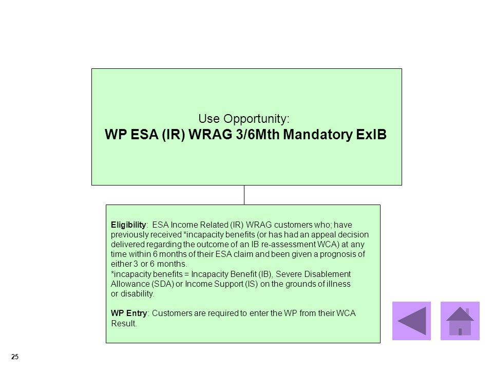 25 Use Opportunity: WP ESA (IR) WRAG 3/6Mth Mandatory ExIB Eligibility: ESA Income Related (IR) WRAG customers who; have previously received *incapacity benefits (or has had an appeal decision delivered regarding the outcome of an IB re-assessment WCA) at any time within 6 months of their ESA claim and been given a prognosis of either 3 or 6 months.