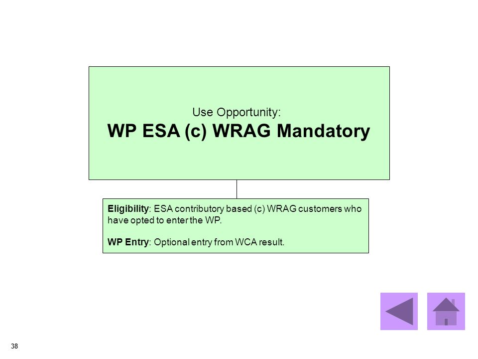 38 Use Opportunity: WP ESA (c) WRAG Mandatory Eligibility: ESA contributory based (c) WRAG customers who have opted to enter the WP.