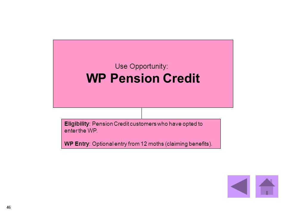 46 Use Opportunity: WP Pension Credit Eligibility: Pension Credit customers who have opted to enter the WP.