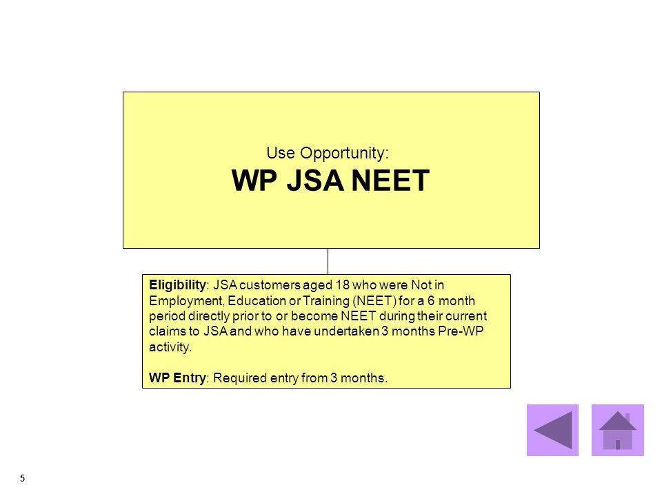 5 Use Opportunity: WP JSA NEET Eligibility: JSA customers aged 18 who were Not in Employment, Education or Training (NEET) for a 6 month period directly prior to or become NEET during their current claims to JSA and who have undertaken 3 months Pre-WP activity.
