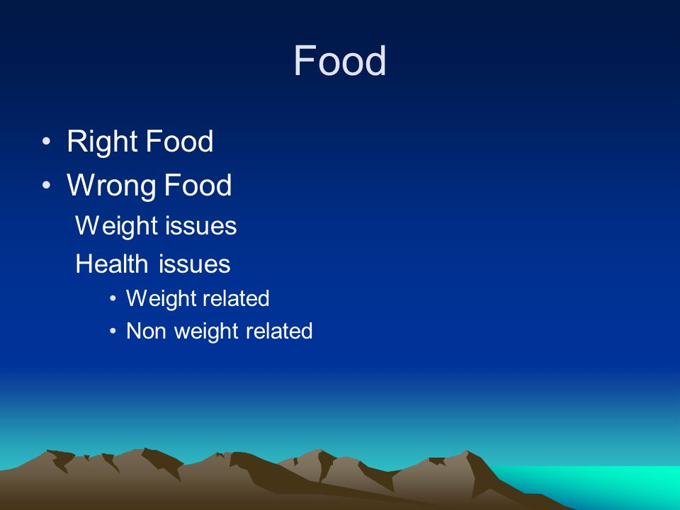 Food Right Food Wrong Food Weight issues Health issues Weight related Non weight related