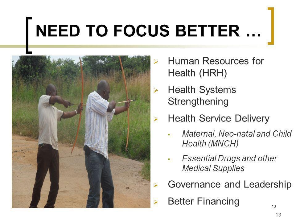 13 NEED TO FOCUS BETTER … Human Resources for Health (HRH) Health Systems Strengthening Health Service Delivery Maternal, Neo-natal and Child Health (MNCH) Essential Drugs and other Medical Supplies Governance and Leadership Better Financing 11/9/