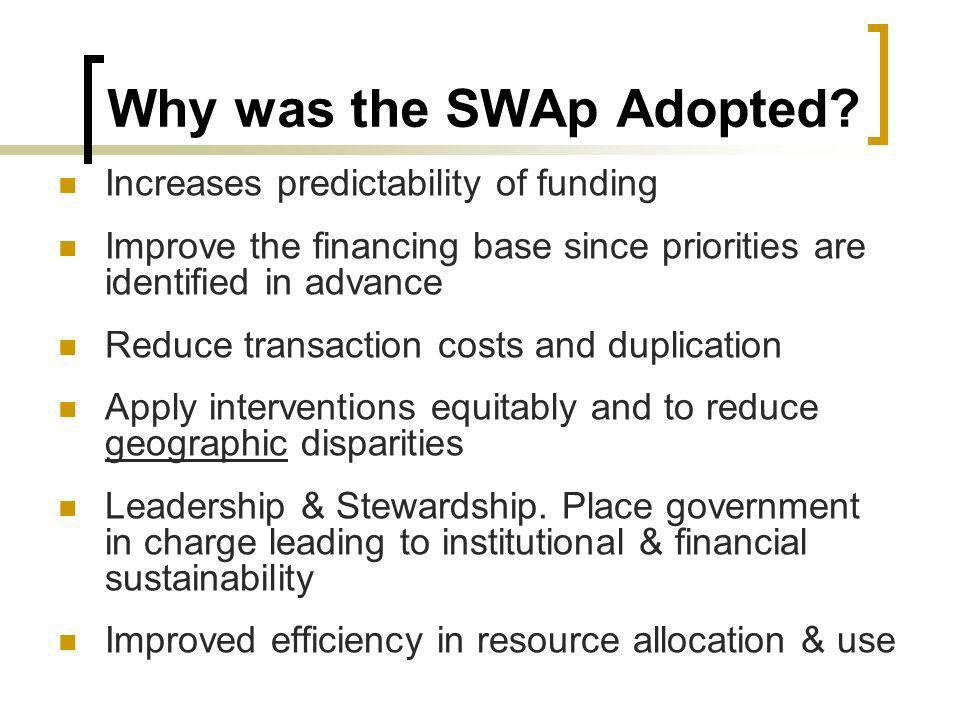 Why was the SWAp Adopted.