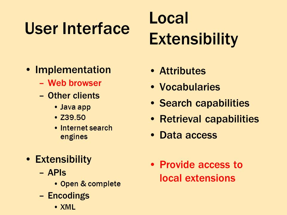 User Interface Implementation –Web browser –Other clients Java app Z39.50 Internet search engines Extensibility –APIs Open & complete –Encodings XML Attributes Vocabularies Search capabilities Retrieval capabilities Data access Provide access to local extensions Local Extensibility