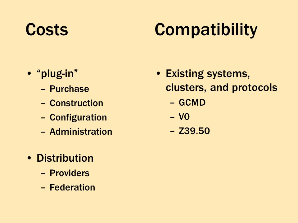 Costs plug-in –Purchase –Construction –Configuration –Administration Distribution –Providers –Federation Existing systems, clusters, and protocols –GCMD –V0 –Z39.50 Compatibility