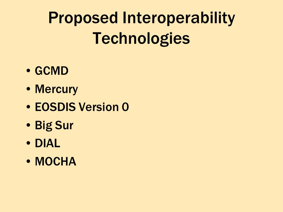 Proposed Interoperability Technologies GCMD Mercury EOSDIS Version 0 Big Sur DIAL MOCHA