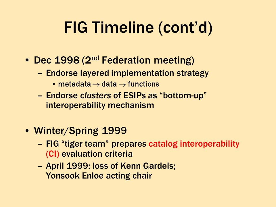FIG Timeline (contd) Dec 1998 (2 nd Federation meeting) –Endorse layered implementation strategy metadata data functions –Endorse clusters of ESIPs as bottom-up interoperability mechanism Winter/Spring 1999 –FIG tiger team prepares catalog interoperability (CI) evaluation criteria –April 1999: loss of Kenn Gardels; Yonsook Enloe acting chair