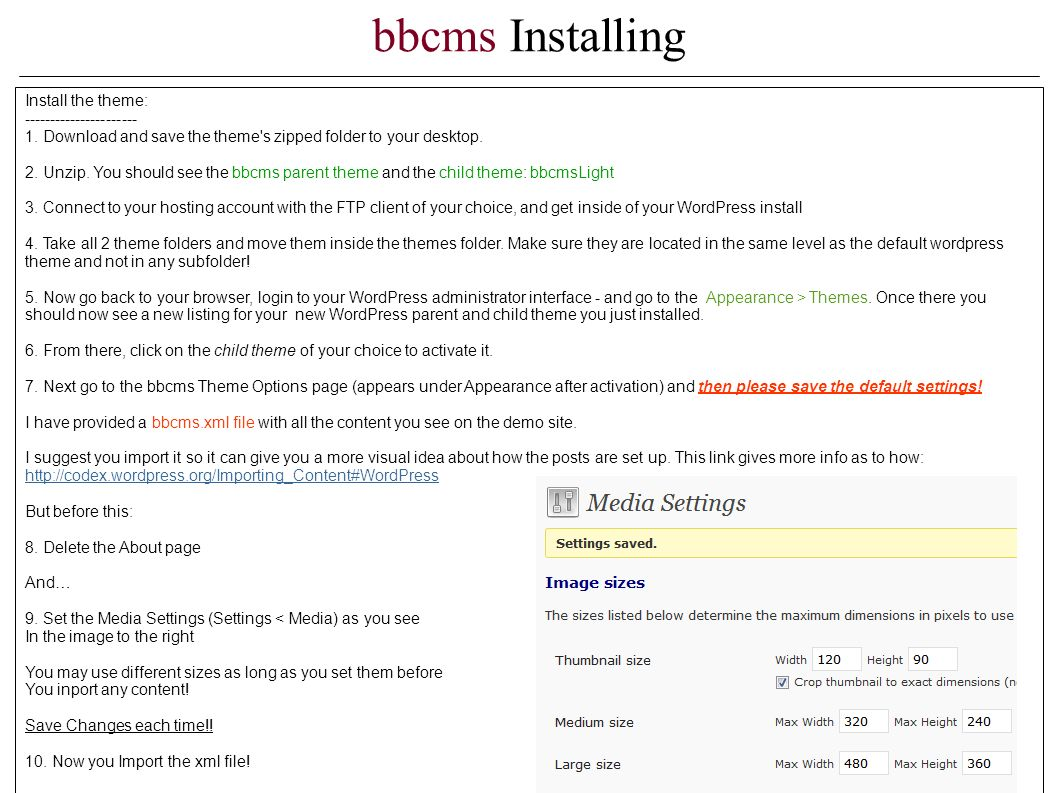 bbcms Installing Install the theme: ---------------------- 1.