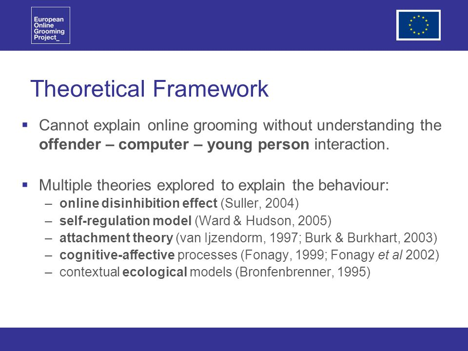 Theoretical Framework Cannot explain online grooming without understanding the offender – computer – young person interaction.