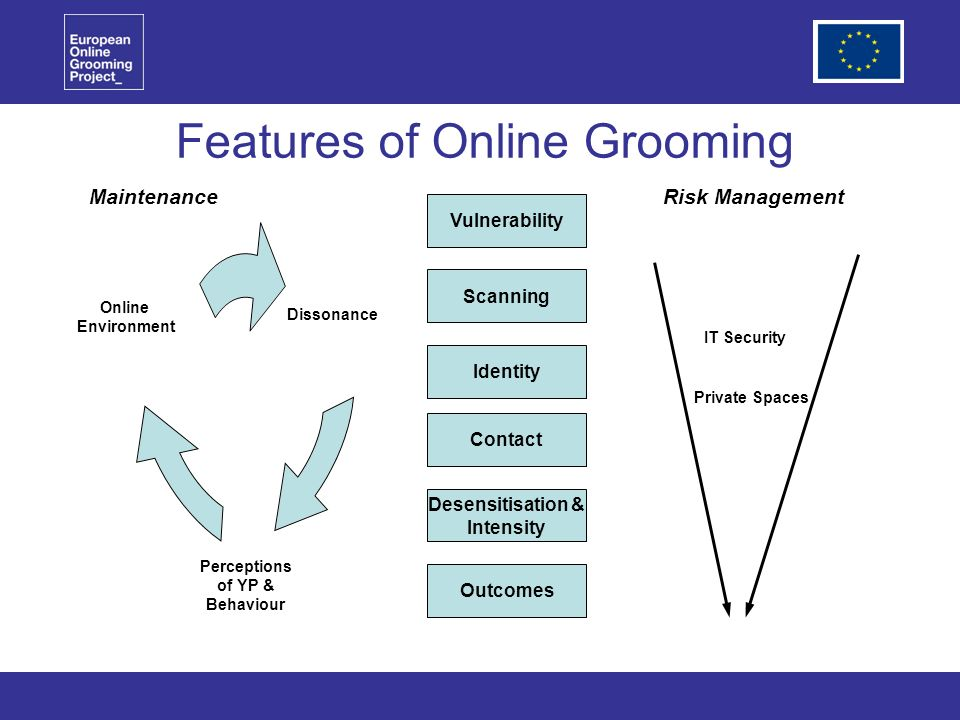 Features of Online Grooming Vulnerability Scanning Identity Contact Desensitisation & Intensity Outcomes Perceptions of YP & Behaviour MaintenanceRisk Management Dissonance IT Security Private Spaces Online Environment