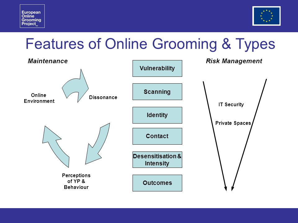 Features of Online Grooming & Types Vulnerability Scanning Identity Contact Desensitisation & Intensity Outcomes Perceptions of YP & Behaviour MaintenanceRisk Management Dissonance IT Security Private Spaces Online Environment
