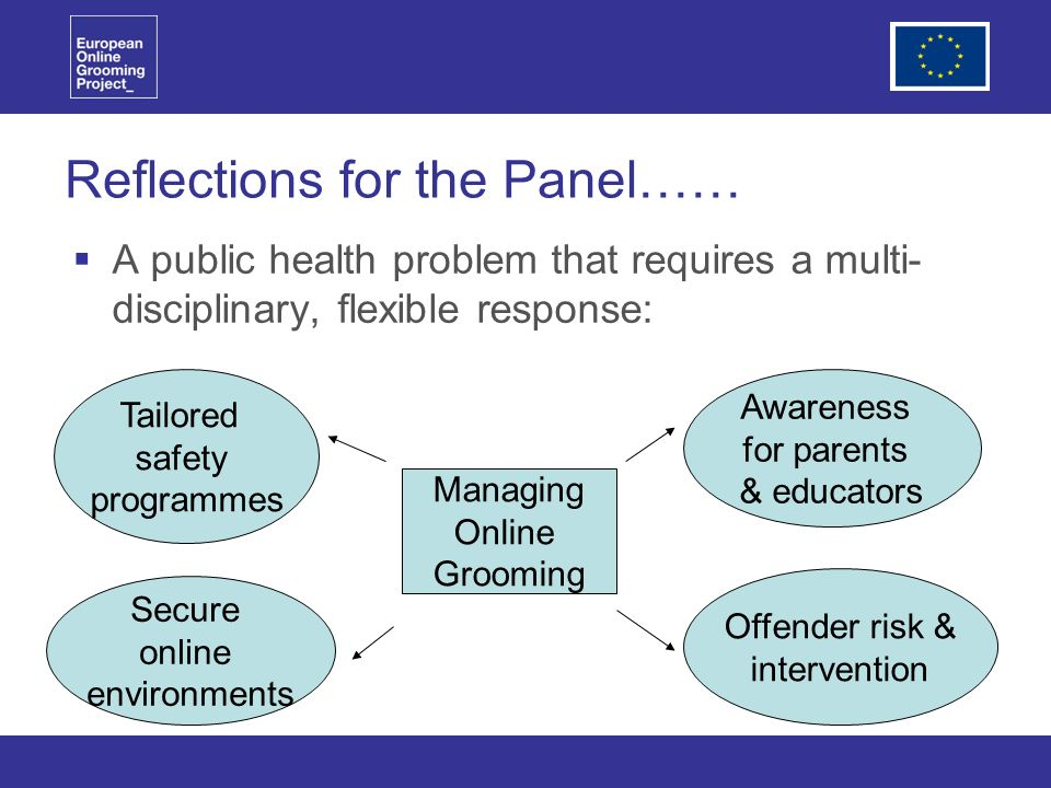 Reflections for the Panel…… A public health problem that requires a multi- disciplinary, flexible response: Managing Online Grooming Tailored safety programmes Awareness for parents & educators Secure online environments Offender risk & intervention
