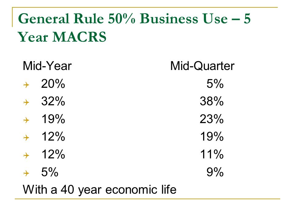 General Rule 50% Business Use – 5 Year MACRS Mid-YearMid-Quarter 20% 5% 32%38% 19%23% 12%19% 12%11% 5% 9% With a 40 year economic life