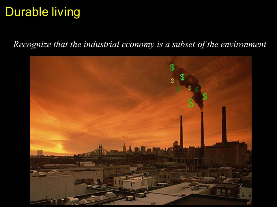 Durable living Recognize that the industrial economy is a subset of the environment
