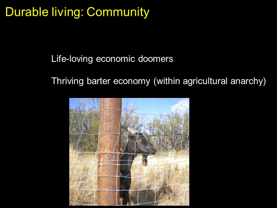 Durable living: Community Life-loving economic doomers Thriving barter economy (within agricultural anarchy)