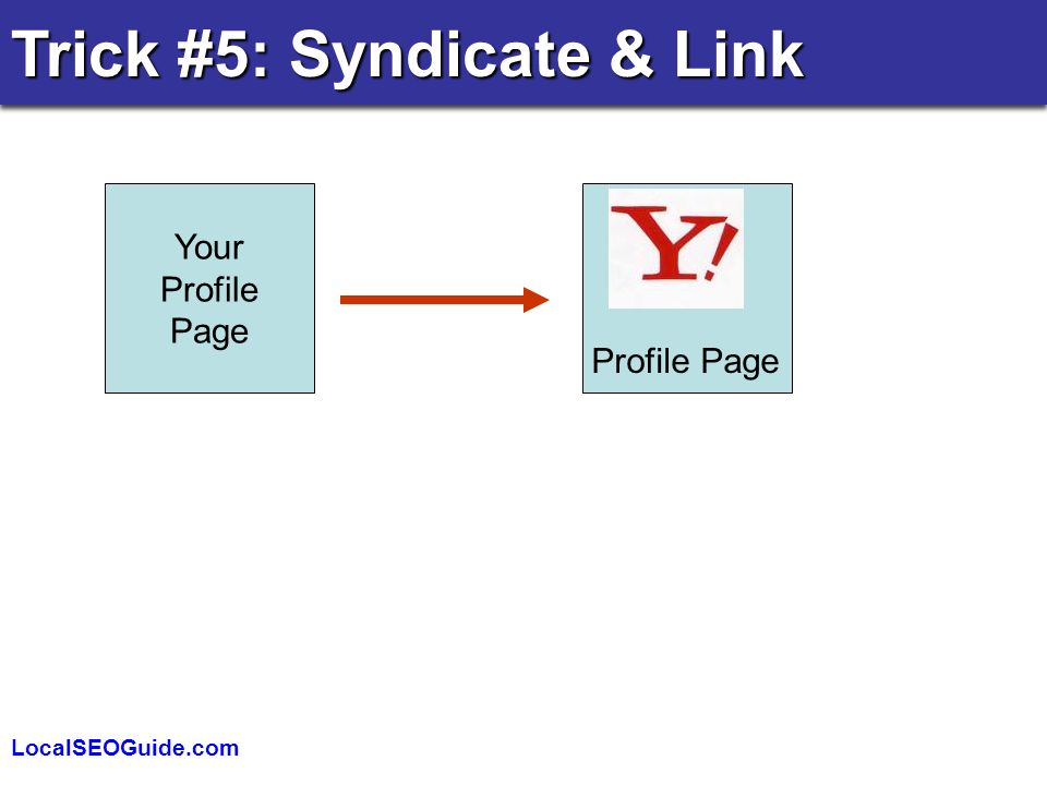 LocalSEOGuide.com Trick #5: Syndicate & Link Your Profile Page Profile Page