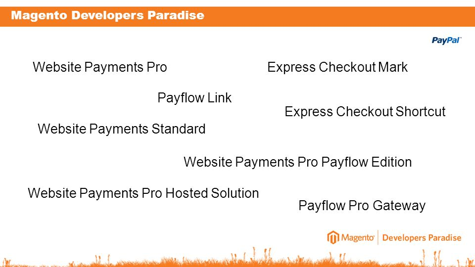 Magento Developers Paradise Website Payments Pro Website Payments Standard Express Checkout Mark Express Checkout Shortcut Payflow Pro Gateway Website Payments Pro Payflow Edition Website Payments Pro Hosted Solution Payflow Link