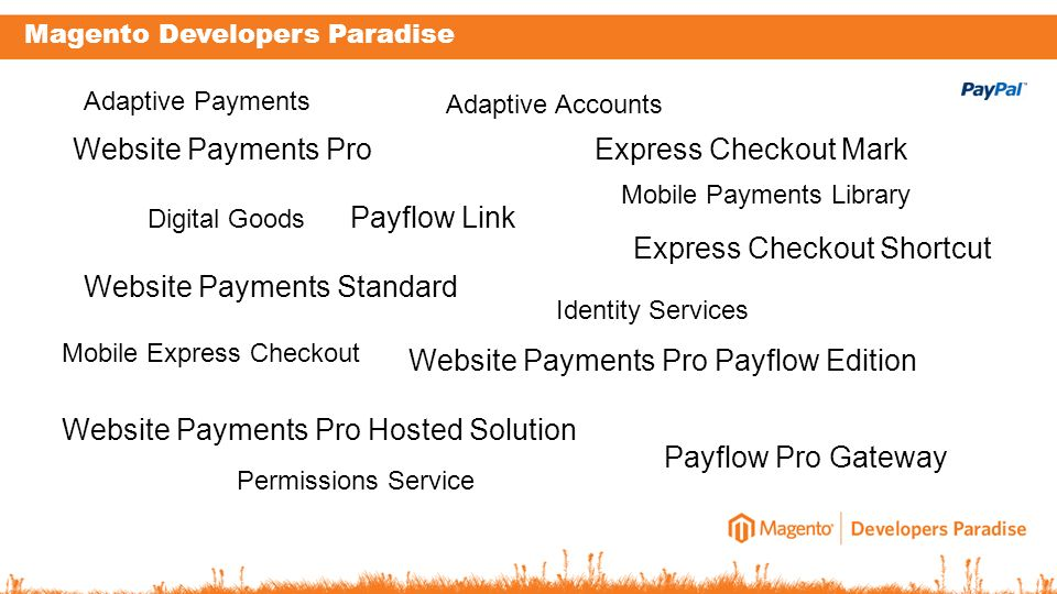 Magento Developers Paradise Website Payments Pro Website Payments Standard Express Checkout Mark Express Checkout Shortcut Payflow Pro Gateway Website Payments Pro Payflow Edition Website Payments Pro Hosted Solution Payflow Link Adaptive Payments Digital Goods Adaptive Accounts Mobile Express Checkout Identity Services Mobile Payments Library Permissions Service