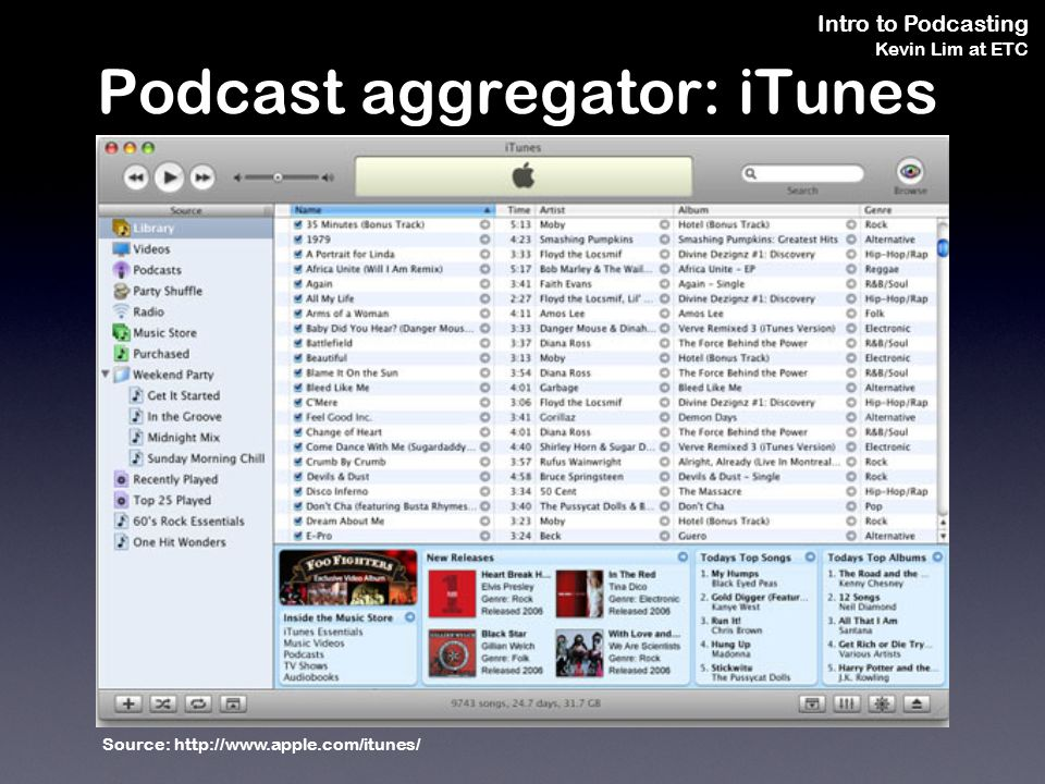 Intro to Podcasting Kevin Lim at ETC Podcast aggregator: iTunes Source: http://www.apple.com/itunes/