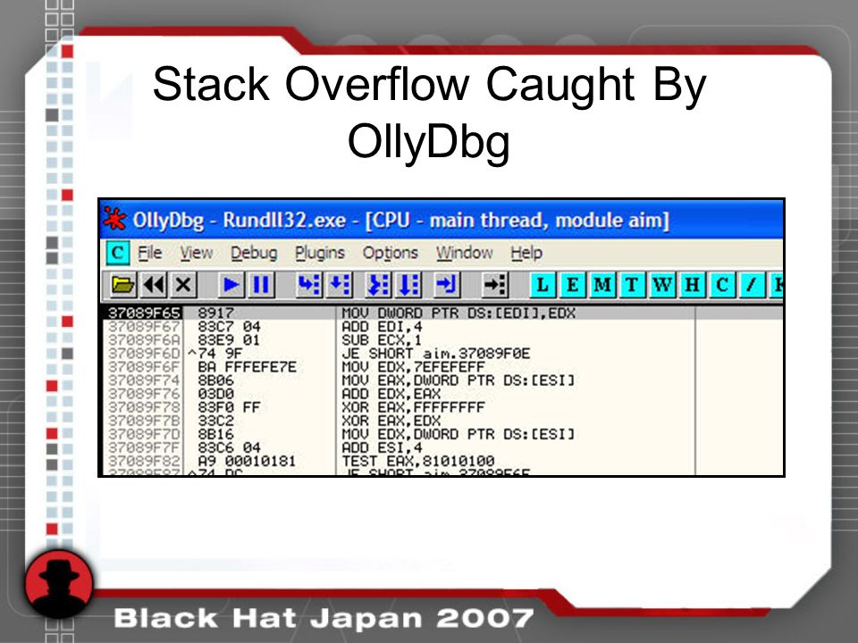 Stack Overflow Caught By OllyDbg