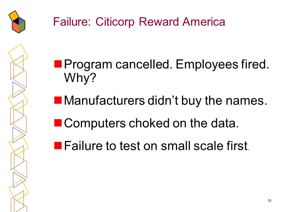 16 Failure: Citicorp Reward America Program cancelled.