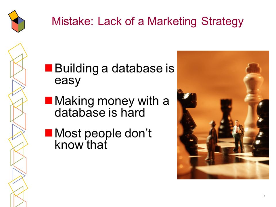 3 Mistake: Lack of a Marketing Strategy Building a database is easy Making money with a database is hard Most people dont know that