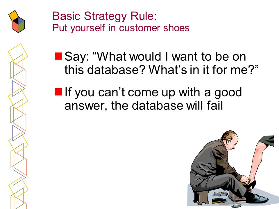 8 Basic Strategy Rule: Put yourself in customer shoes Say: What would I want to be on this database.