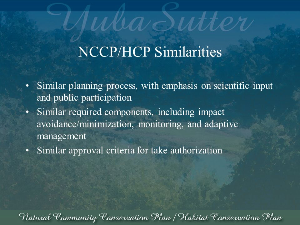 NCCP/HCP Similarities Similar planning process, with emphasis on scientific input and public participation Similar required components, including impact avoidance/minimization, monitoring, and adaptive management Similar approval criteria for take authorization