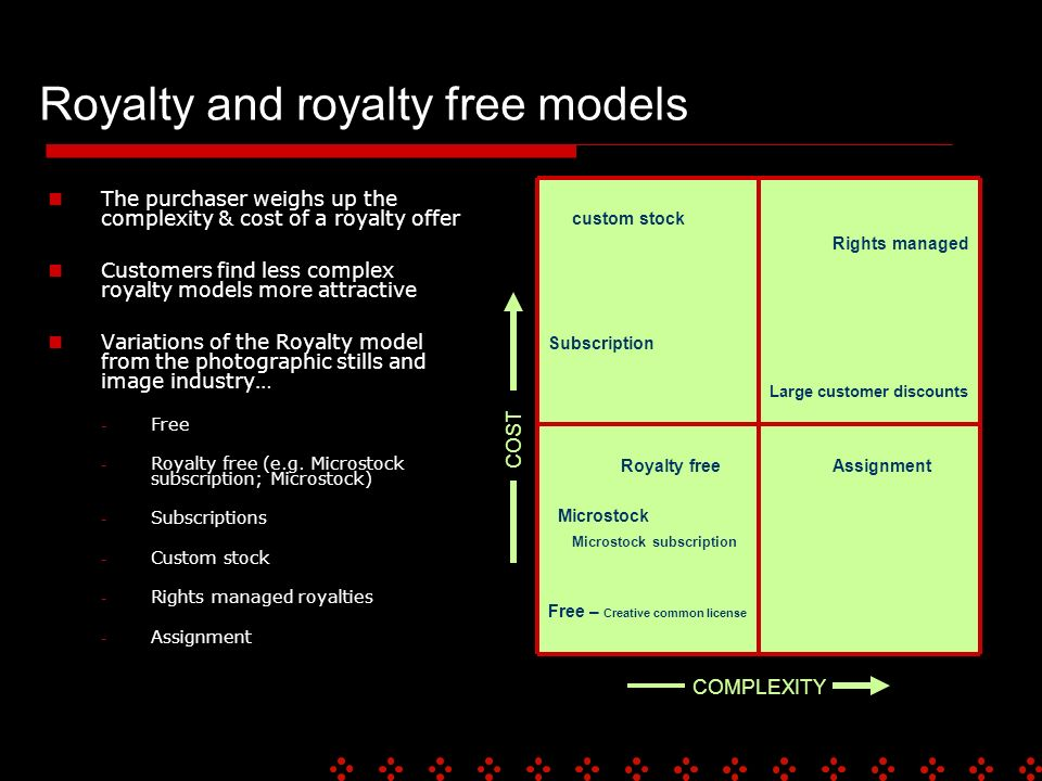 Royalty and royalty free models The purchaser weighs up the complexity & cost of a royalty offer Customers find less complex royalty models more attractive Variations of the Royalty model from the photographic stills and image industry… - Free - Royalty free (e.g.