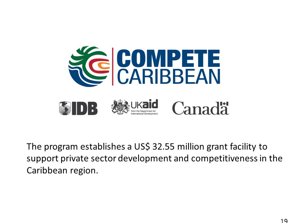 The program establishes a US$ 32.55 million grant facility to support private sector development and competitiveness in the Caribbean region.