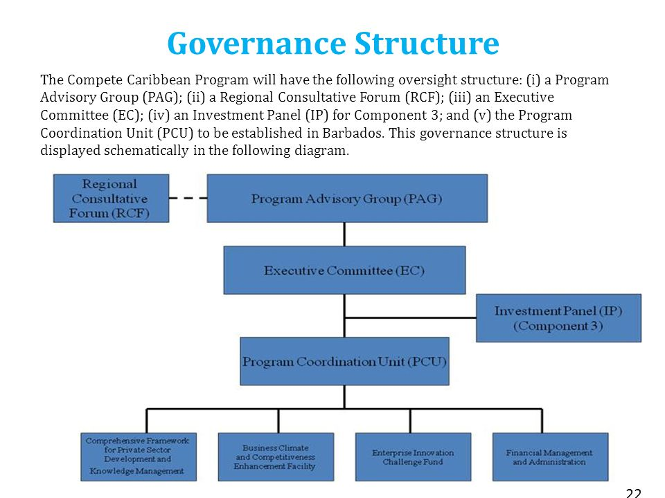 Governance Structure 22 The Compete Caribbean Program will have the following oversight structure: (i) a Program Advisory Group (PAG); (ii) a Regional Consultative Forum (RCF); (iii) an Executive Committee (EC); (iv) an Investment Panel (IP) for Component 3; and (v) the Program Coordination Unit (PCU) to be established in Barbados.