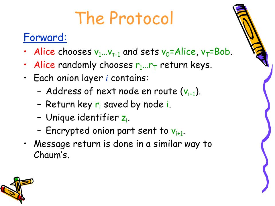 The Protocol Forward: Alice chooses v 1 …v t-1 and sets v 0 =Alice, v T =Bob.