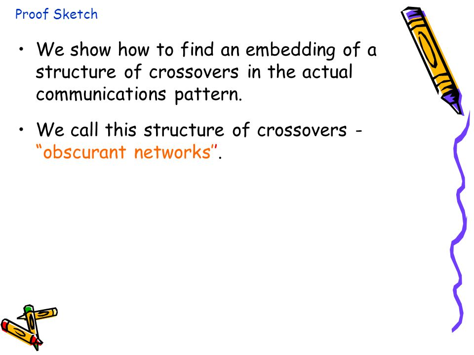 We show how to find an embedding of a structure of crossovers in the actual communications pattern.
