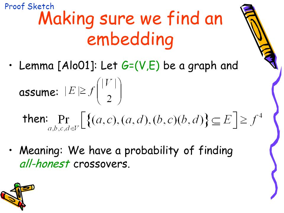 Making sure we find an embedding Lemma [Alo01]: Let G=(V,E) be a graph and assume: then: Meaning: We have a probability of finding all-honest crossovers.