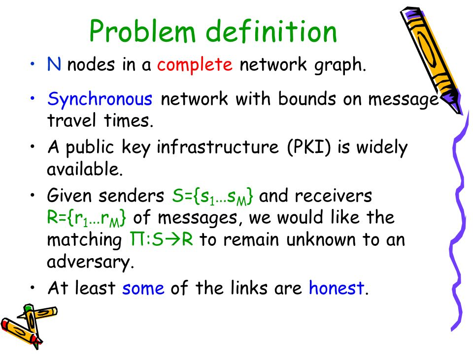 Problem definition N nodes in a complete network graph.