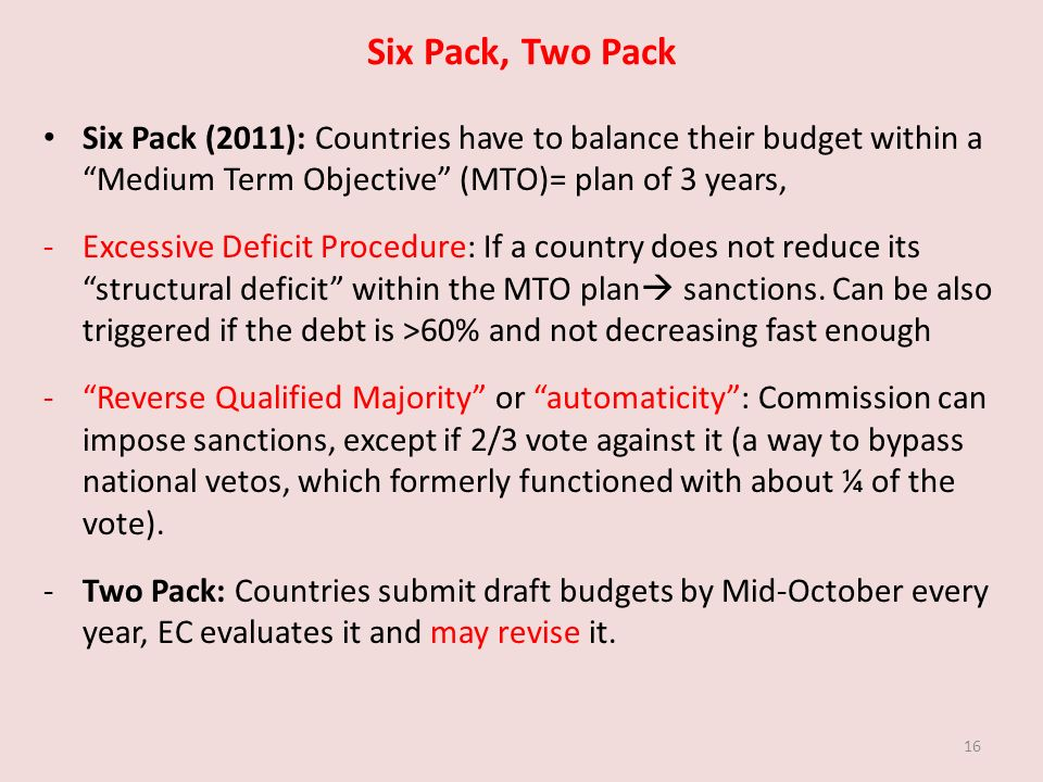 Six Pack, Two Pack Six Pack (2011): Countries have to balance their budget within a Medium Term Objective (MTO)= plan of 3 years, -Excessive Deficit Procedure: If a country does not reduce its structural deficit within the MTO plan sanctions.