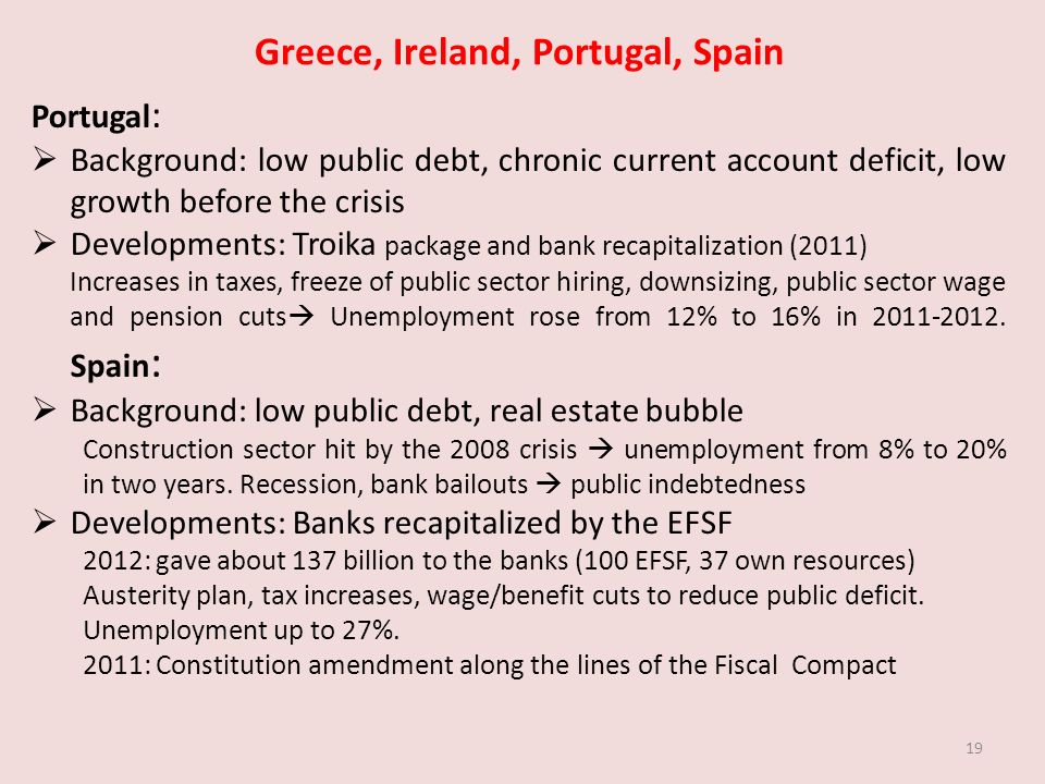 Greece, Ireland, Portugal, Spain Portugal : Background: low public debt, chronic current account deficit, low growth before the crisis Developments: Troika package and bank recapitalization (2011) Increases in taxes, freeze of public sector hiring, downsizing, public sector wage and pension cuts Unemployment rose from 12% to 16% in