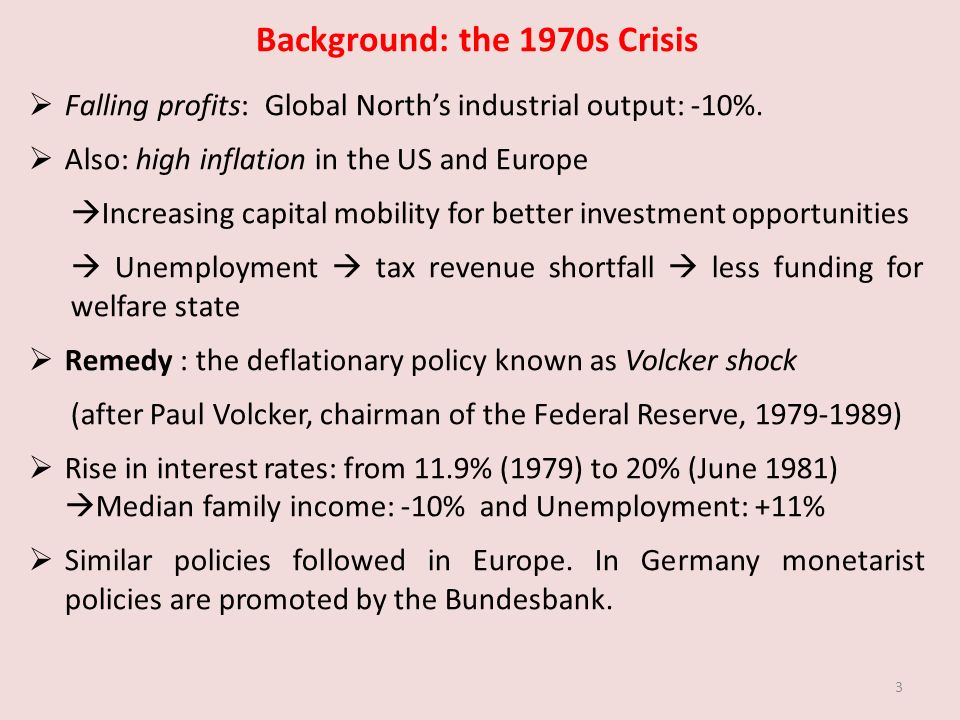 Background: the 1970s Crisis Falling profits: Global Norths industrial output: -10%.