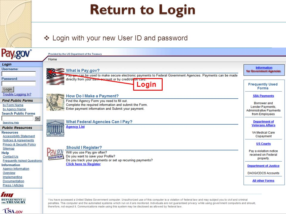 Return to Login Login Login with your new User ID and password