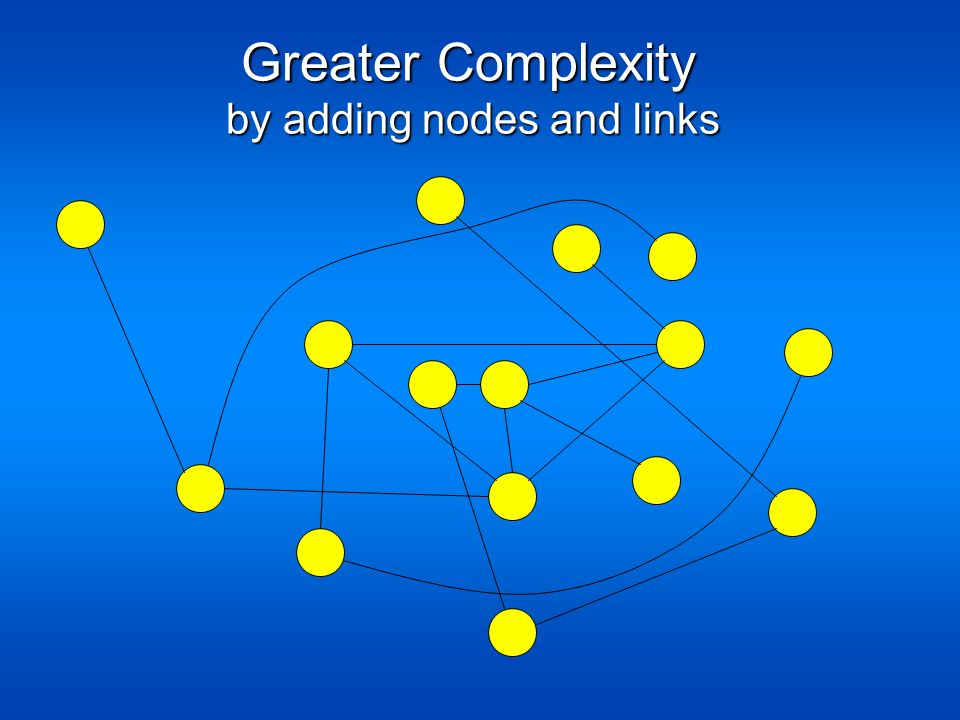 Greater Complexity Greater Complexity by adding nodes and links