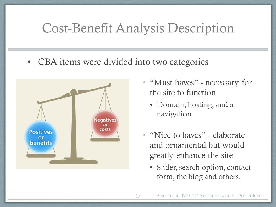 Cost-Benefit Analysis Description CBA items were divided into two categories Must haves - necessary for the site to function Domain, hosting, and a navigation Nice to haves - elaborate and ornamental but would greatly enhance the site Slider, search option, contact form, the blog and others.