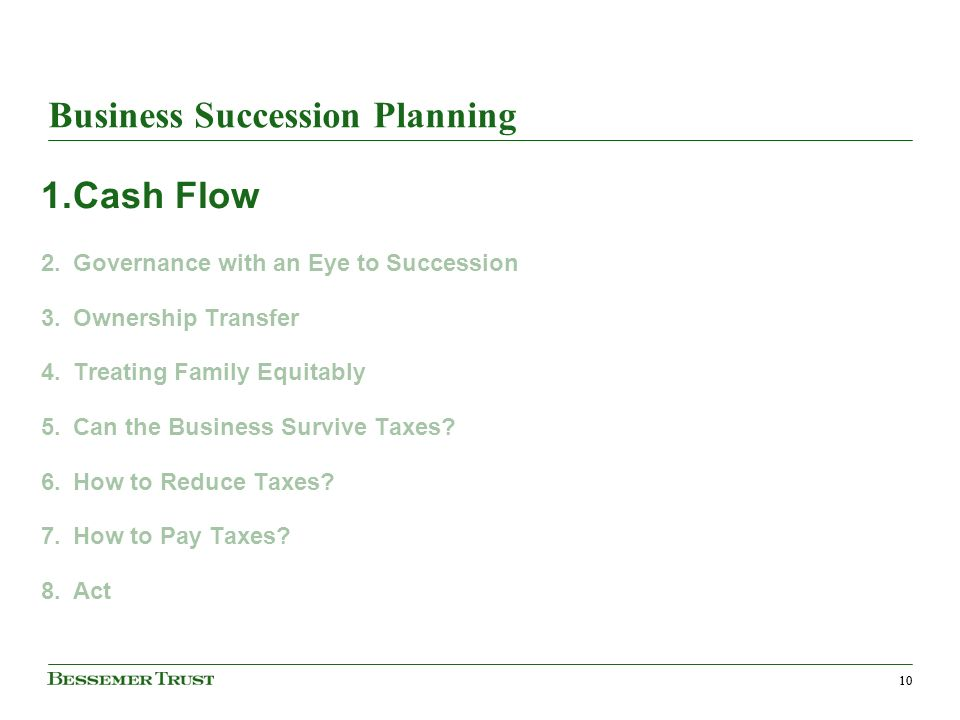 10 Business Succession Planning 1.Cash Flow 2.Governance with an Eye to Succession 3.Ownership Transfer 4.Treating Family Equitably 5.Can the Business Survive Taxes.