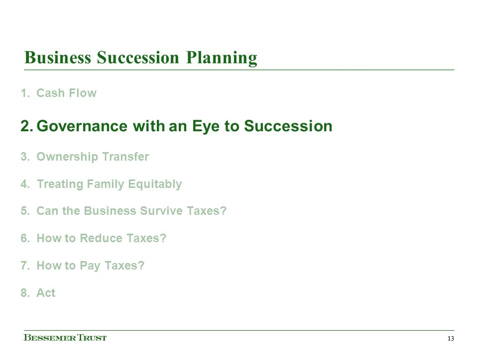 13 Business Succession Planning 1.Cash Flow 2.Governance with an Eye to Succession 3.Ownership Transfer 4.Treating Family Equitably 5.Can the Business Survive Taxes.