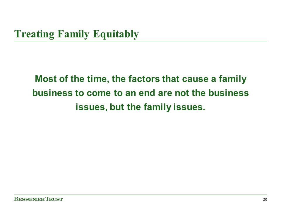 20 Treating Family Equitably Most of the time, the factors that cause a family business to come to an end are not the business issues, but the family issues.